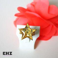 Bague rock étoile dorée ehz bijoux