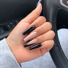 Do you have a crush on long nails? Then enjoy the most beautiful long nail ideas we have for you. Coffin nails, stiletto nails, and almond nails all have beautiful designs in this article. Stiletto The Most Beautiful Long Nails Idea 2019 Black Acrylic Nails, Silver Glitter Nails, Best Acrylic Nails, Black And Nude Nails, Long Black Nails, Cute Black Nails, Long Almond Nails, Black Acrylics, Acrylic Art