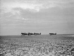 A section of four Supermarine Spitfire Mark IAs of No 92 Squadron RAF, taking off from Manston, Kent.
