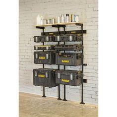 Dewalt Storage, Garage Tool Storage, Workshop Storage, Garage Tools, Garage Workshop, Lumber Storage, Garage Shop, Dewalt Tough System, Garage Atelier