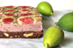 Raw fig and plum slice. Vegan. healthy and nutritious.