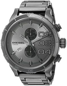 Shop for Diesel Men's Double Down Grey Stainless Steel Quartz Watch with Grey Dial. Get free delivery On EVERYTHING* Overstock - Your Online Watches Store! Cute Watches, Wrist Watches, Men's Watches, Luxury Watches, Diesel Watches For Men, Swiss Automatic Watches, Herren Chronograph, Online Watch Store, Stainless Steel Watch