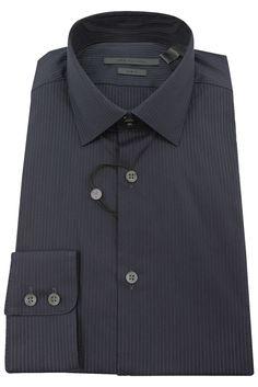1e259c289a2b John Varvatos Men s Dark Blue Pinstripe Long Sleeve Dress Shirt