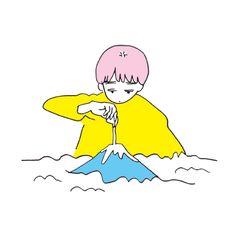 富士山 People Illustration, Pastel Colors, Mountain, Lovers, Creative, Artwork, Fictional Characters, Japanese Language, Chinese