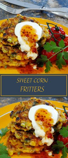 Sweet corn fritters are also great for entertaining, simply top with a dollop of sour cream and a mere trickle of sweet chilli sauce. Fried Fritters Recipe, Savory Breakfast, Breakfast Recipes, Sweet Corn Fritters, Corn Fritter Recipes, Tasty Vegetarian Recipes, Sweet Chilli Sauce, Baked Chicken Recipes, Appetisers