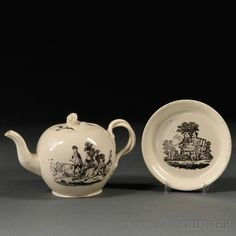 Two Staffordshire Cream-colored Earthenware Items, England, late 18th century, each black transfer decorated, a globular shaped teapot and cover, entwined strap handles and floral finial, figures