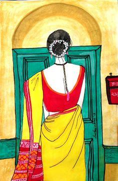 The Green Door by Sreetama Ray Realistic Pencil Drawings, Cute Cartoon Drawings, Art Drawings Sketches, Cartoon Art, Fabric Painting, Watercolour Painting, Watercolors, Mughal Paintings, Indian Art Paintings