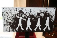diy beatles abbey road canvas art.  Would be cool to use cut outs of the family.