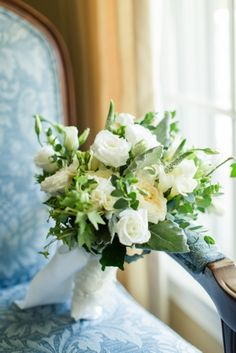 Green and White Garden Rose Bridal Bouquet Photo by Jessica Haley