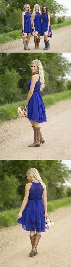 Royal blue bridesmaid dresses,High-Low bridesmaid dress,2016 chiffon bridesmaid dress,Halter Neck.