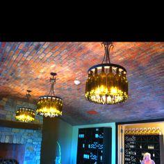 Wine bottle chandeliers at Magnus Ridge winery on Seneca Lake