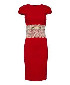 Love this Tomato Red & Cream Katrina Dress - Plus Too on #zulily! #zulilyfinds