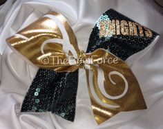 Competion Sequin Hunter Green Gold Cheer Bow by TheBowForce on Etsy