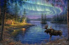 """""""Northern night.""""   © d' Abraham Hunter. """"This American artist very kindly allowed me to post his work on my blog and I thank."""" http://pussycatdreams.centerblog.net"""