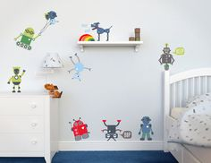boys robots wall stickers kids playroom wall decals roaming in the space pediatric children hospital school removable wall sticker pt0127 aliens big