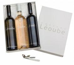 Coffret cadeau Trilogie de Léoube comprenant 3 bouteilles de vin et 1 sommelier