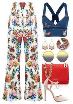 """Denim and Floral (Outfit Only) 1570"" by boxthoughts ❤ liked on Polyvore featuring Emilia Wickstead, Valentino, GUESS, Charlotte Russe, Matthew Williamson and Chicnova Fashion"