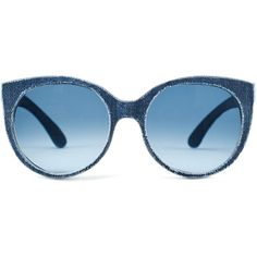 Mosevic - Solid Denim Sunglasses - Halley Marina Blue (€160) ❤ liked on Polyvore featuring accessories, eyewear, sunglasses, glasses, lunette, vintage sunglasses, blue lens sunglasses, blue glasses, blue lens glasses and summer glasses