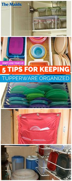 We've collected the best tips, so you can organize your kitchen, pantry, and Tupperware with just a few moments and a long, lovely sigh of relief. 1. Bins for sorting, 2. Expandable drawer organizers, 3. Drying racks, 4. Hanging door organizers, 5. Complete container storage. Click here for Five Tips for Keeping Your Tupperware Organized!