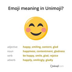 """Couldn't be happier! 😊  The """"smiling face with smiling eyes"""" emoji denotes genuine happiness, contentment, gladness and smiling.  More in Instagram.  #Unimoji #emojilanguage #new #universal #emoji #language #emojimeanings #icon #symbol #picture #graphics #emojimeaning #emojione #happy #happiness #behappy #smile #smiling #smilingface #content #contentment #glad #gladness #lucky #rejoice #joy #joyful #joyfulness #cheerful #happyface Emoji Language, Smiling Eyes, Eyes Emoji, Contentment, Smile Face, Joyful, Meant To Be, Happiness, Graphics"""