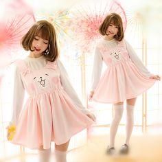 S/M/L Pink Kawaii Kanahei Bunny Suspender Dress SP165267