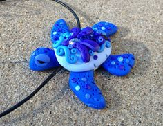 Polymer Clay Blue and Purple Turtle Necklace