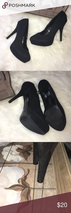 Trash Black Suede Stiletto Platform Heels Lovely 6in heels by Trash. In excellent preowned condition. Size 11. Black suede stiletto Platform Heels Trash Shoes Heels