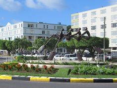 This monument marking the anniversary of independence stands on a roundabout in Castries, St. 40th Anniversary, Caribbean
