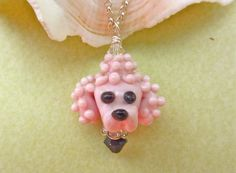 Pink Poodle Necklace  Lampwork Glass Beads by SUZOOM on Etsy, $32.00