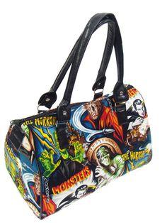 Handbag Doctor bag Satchel Style Monster Frankenstein Horror Movie Alexander Henry Fabric Cotton  Bag Purse, new on Etsy, $54.95