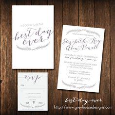 Best Day Ever Printable Wedding Invitation & RSVP by ghdstudio