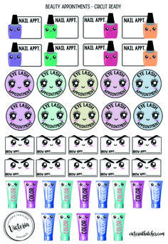 Free Printable Beauty Appointment Cricut Ready Planner Stickers from Victoria Thatcher