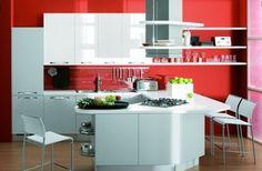 Blanco y rojo para la cocina