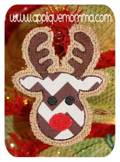 Reindeer Ornament Applique Design