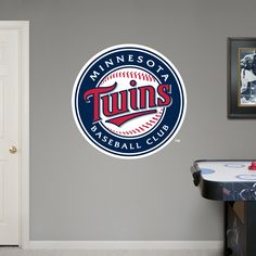 Minnesota Twins Logo REAL.BIG. Fathead Wall Graphic | Minnesota Twins Wall Decal | Sports Décor | Baseball Bedroom/Man Cave/Nursery