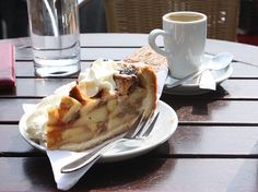 A piece of appletaart at the 't Smalle Café, Amsterdam. deep dish apple pie amsterdam style