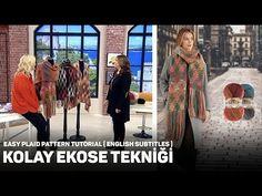 Técnica fácil de cuadros con batik dorado Alize Angora - Patrón de cuadros f. - Örgü Modelleri ve Örgü Örnekleri Knit Crochet, Crochet Hats, Poncho, Down Hairstyles, Plaid Pattern, Travel Size Products, Kimono Top, Patterns, Knitting