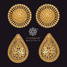Kanpasha C & D, carrying forward the ongoing theme of time-defying, age-defying, genre-defying, large ear studs. Remember that each has a matching pendant with it. Hallmarked and hand-wrought in pure gold. Real Gold Jewelry, Gold Jewelry Simple, Swarovski Jewelry, Gold Jhumka Earrings, Gold Earrings Designs, Antique Jewellery Designs, Gold Jewellery Design, Bridal Jewellery, India Jewelry