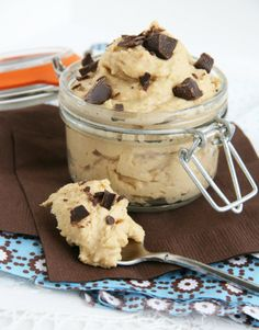 "One pinned said, ""heaalthy cookie dough choc chip snack... made with chick peas so i'm skeptical but willing to try when i'm bored sometime soon!"""