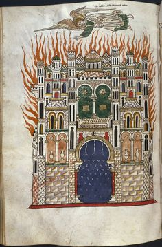 Destruction of Babylon. The commentary on the Apocalypse (Commentaria In Apocalypsin) was written in Spain by Beatus of Liébana in the 8th century. There are about thirty extant copies of the commentary in illuminated manuscript format, the earliest being from the 9th century. Rylands Beatus, 12th century, from the John Rylands Library at the University of Manchester.