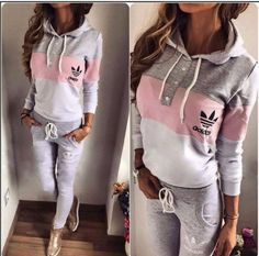 Comfort and style Tracksuit sports wear - gray , pink and white