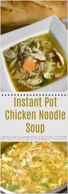This simple Instant Pot Chicken Noodle Soup recipe can be made in no time in your electric pressure cooker. This healthy recipe uses lots of vegetables and can be easily adapted for the Paleo diet. #ad #InstantPot via @kjhodson #AHealthyHolidays