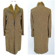 "CHANEL Fur Long Coat Tweed Brown FR 36 4 Brand: Chanel Style/Model: Tweed / Two Pockets / Fur / Made in France / Collection 94A /  Color: Brown Size: 36 Measurement: L 38"" / SL 23"" / W 38"" / AS 16"" / B 33"" Pattern: Solid Material: 95% Wool / 5% Alpaca Condition: Good Pre Owned / Dry cleaned and ready to wear   I.D # 1646 CHANEL Jackets & Coats"