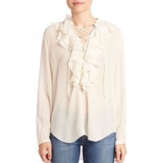 Theory Rianala Silk Ruffle Lace-Up Top ($310) ❤ liked on Polyvore featuring tops, blouses, apparel & accessories, ivory, long sleeve ruffle blouse, long sleeve tops, sweater pullover, pink tops and silk blouse