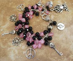 Silver Charm Bracelet Skull Peace Signs Pink and Black Handmade Chunky
