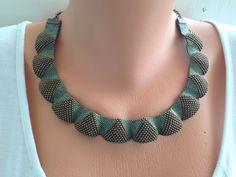 Peyote beaded collar necklace.Oriental miyuki beaded necklace. Cleopatra design elegant necklace. Delica beaded necklace.Green and brown. on Etsy, $109.29 AUD
