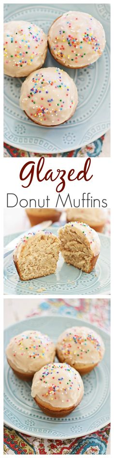 Glasierte Donut-Muffins Glazed Doughnut Muffins - combining two favorites into one treat: doughnut, muffins, and glazed with sugar. Sinfully good and you'll want more. Just Desserts, Delicious Desserts, Dessert Recipes, Yummy Food, Donut Muffins, Cupcakes, Cupcake Cakes, Snacks Für Party, Macaron