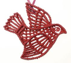 Ornament Bird Red Unique Hand Piped Sugar by SugarFunOrnaments, $28.88