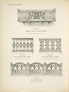 Wrought and cast iron balcony. Cast iron balcony railing. Cast iron railing, ...
