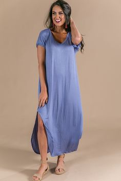 Beachy Keen T-Shirt Maxi in Periwinkle $36.00